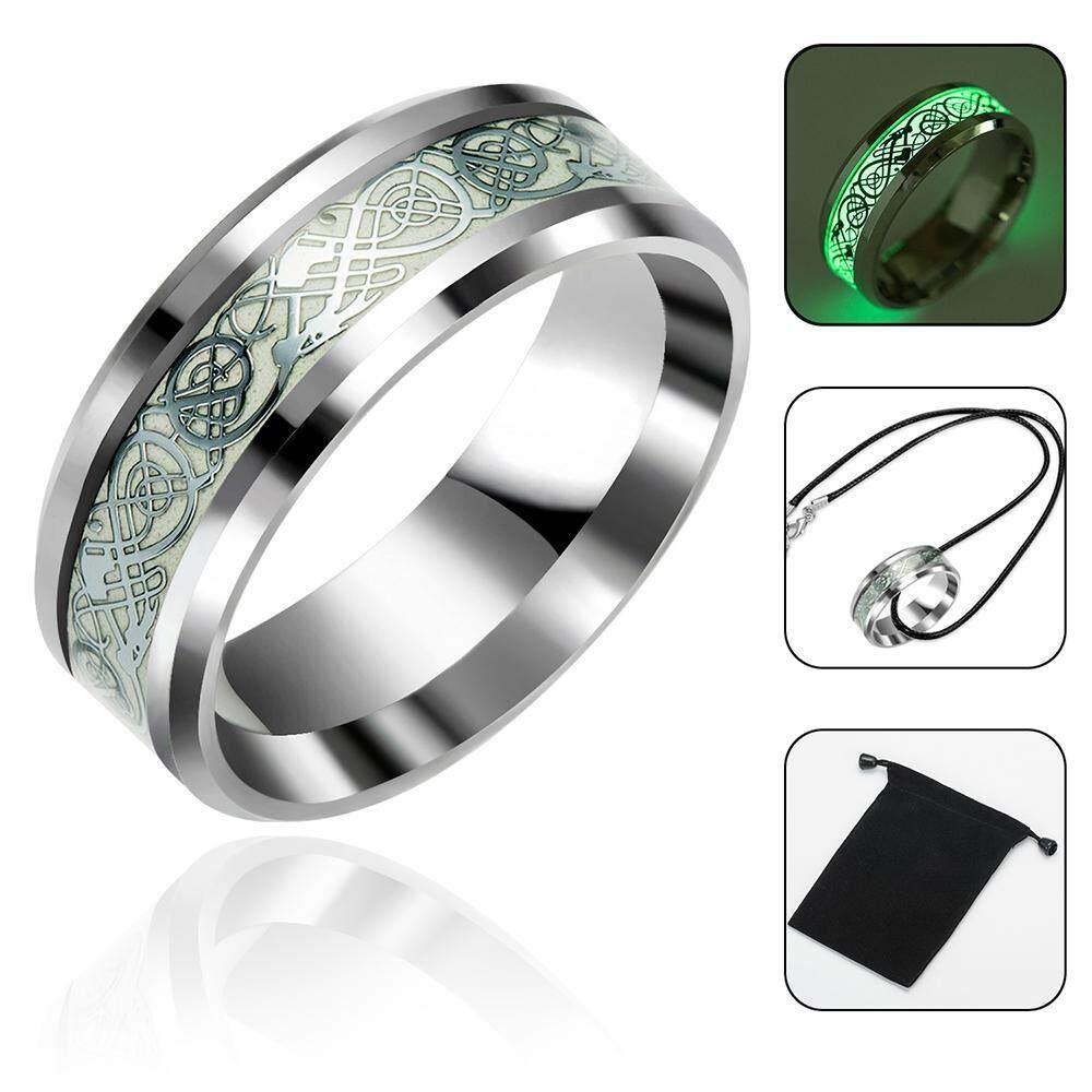 Vankel Silver Celtic Cincin Naga untuk Pria Baja Anti Karat Luminou Glow Perhiasan Cincin Nikah-