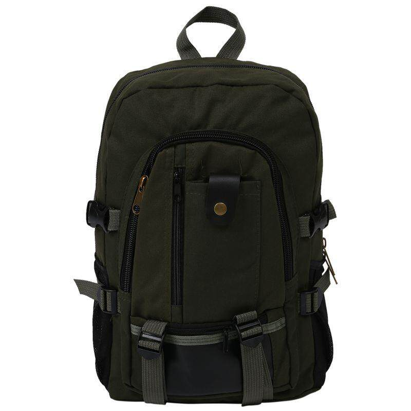 male Retro Leisure tourism canvas backpack student bag Army Green