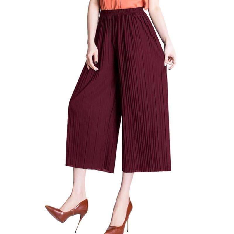 Women Pleated Loose Pants High Waist Chiffon Wide Leg Trousers - intl