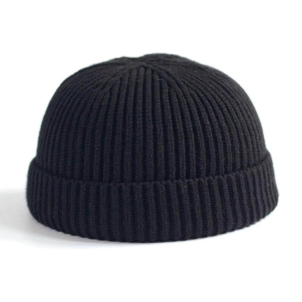 Ishowmall Men Women Knitted Hat Beanie Skullcap Sailor Docker Fisherman  Cuff Brimless Cap 017235aa0b7f
