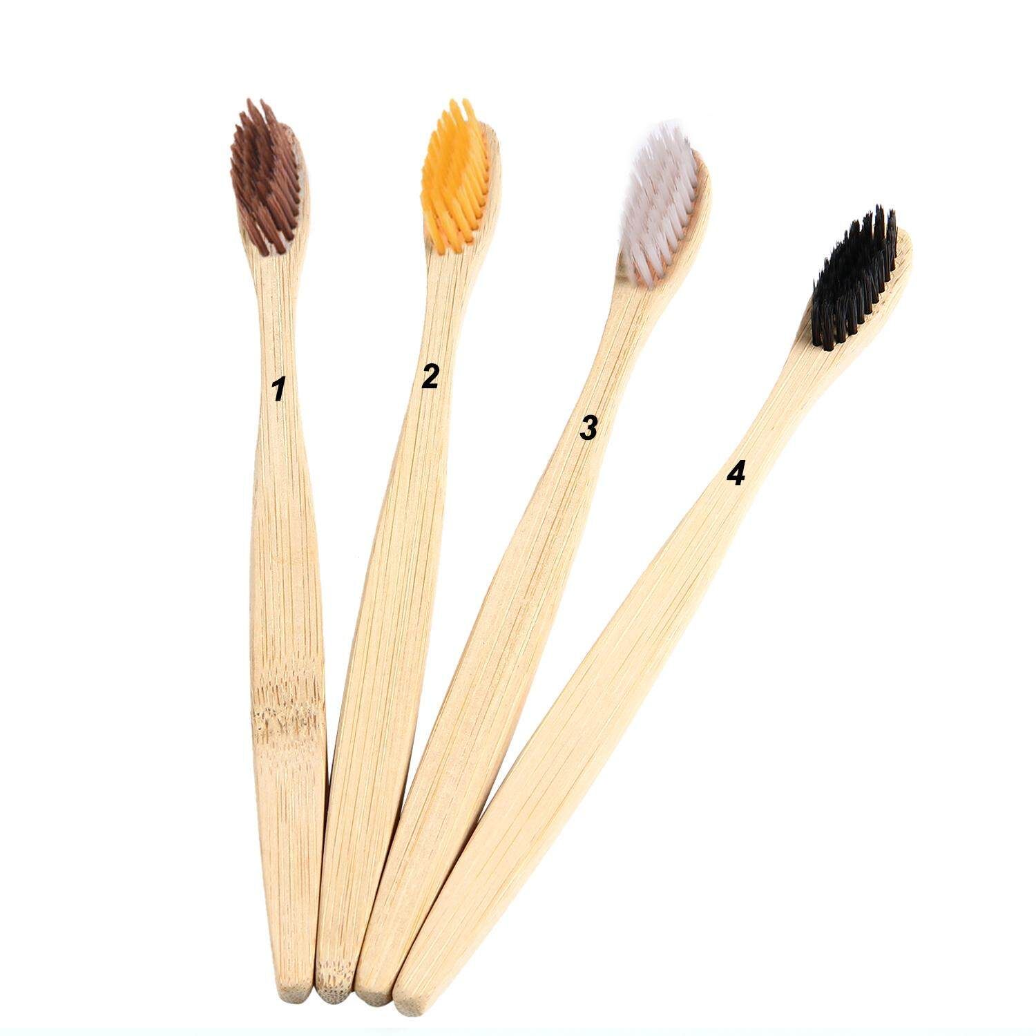 OrzBuy Natural Bamboo Toothbrush Individually Numbered, BPA Free Bristles, Pack Of 4 - intl