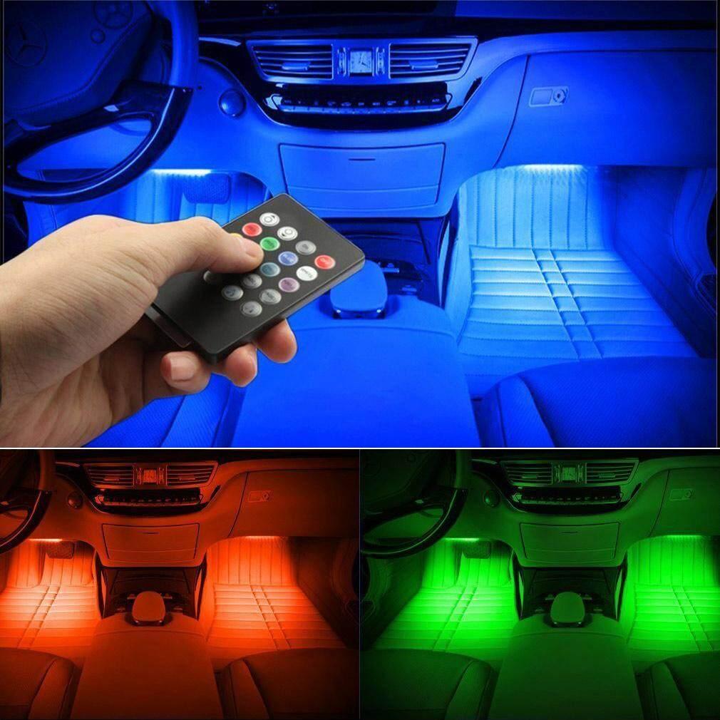 YBC Mobil Suasana Interior Lampu LED Warna-warni RGB Sensor Suara Kontrol Musik Lampu-