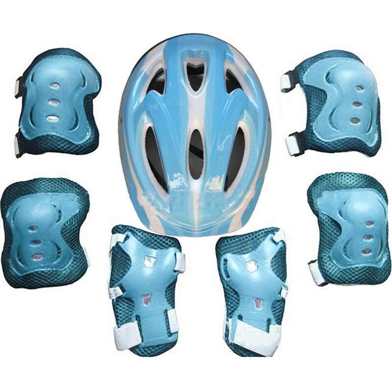 Meiyang 7 Pcs set Anak Keselamatan Helm Sepatu Roda Pergelangan Tangan  Lutut Siku Set Bantalan untuk Sepeda Bersepeda Skateboard Persneling  Pelindung 9c4f301c7b