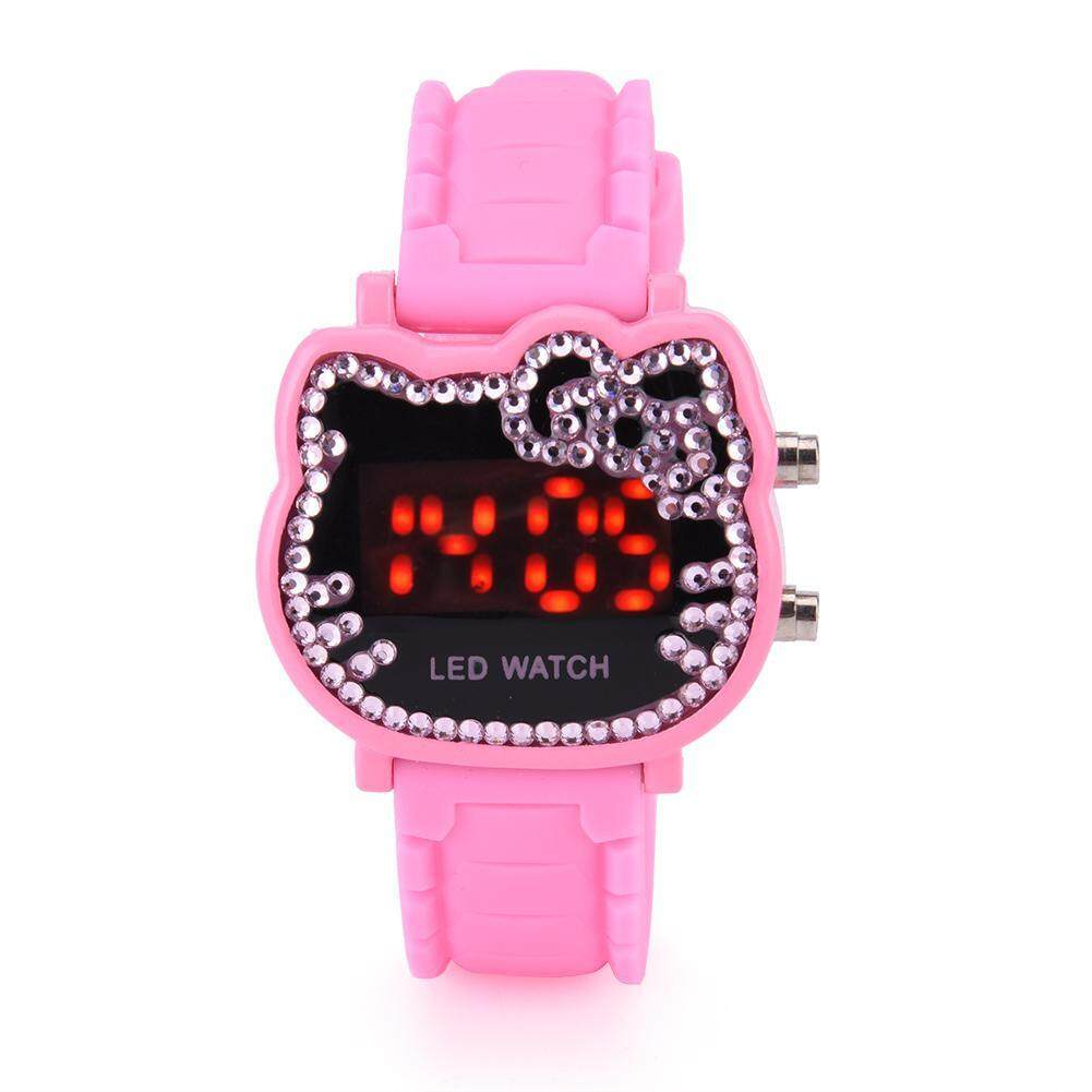 Children Girl LED Back Light Electronic Digital Cartoon Silicone Strap Watch Wristwatch (Pink)