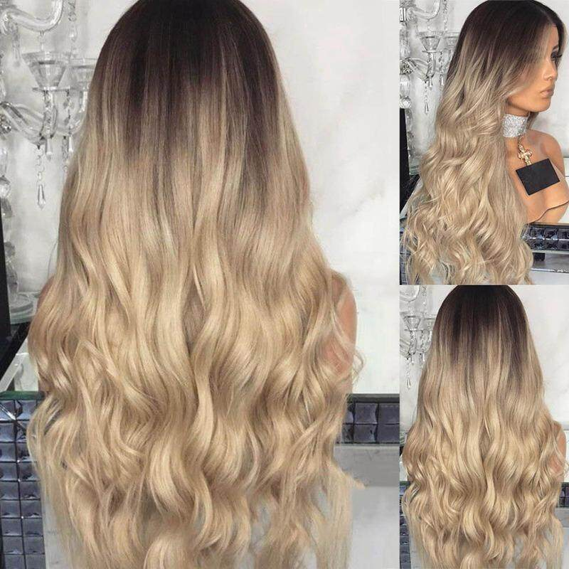 SYS 28'' Long Curly Blonde Ombre Women Wig Fashion Heat Resistant Synthetic Wig