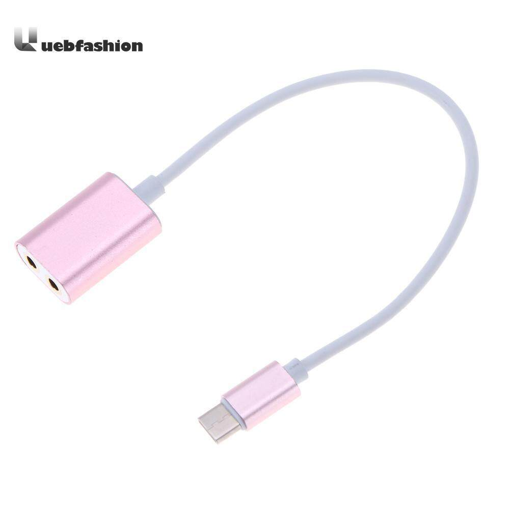 Tipe C USB 3.1 untuk 3.5 Mm Audio Konverter Splitter Kabel Tipe C Pria Ke 2