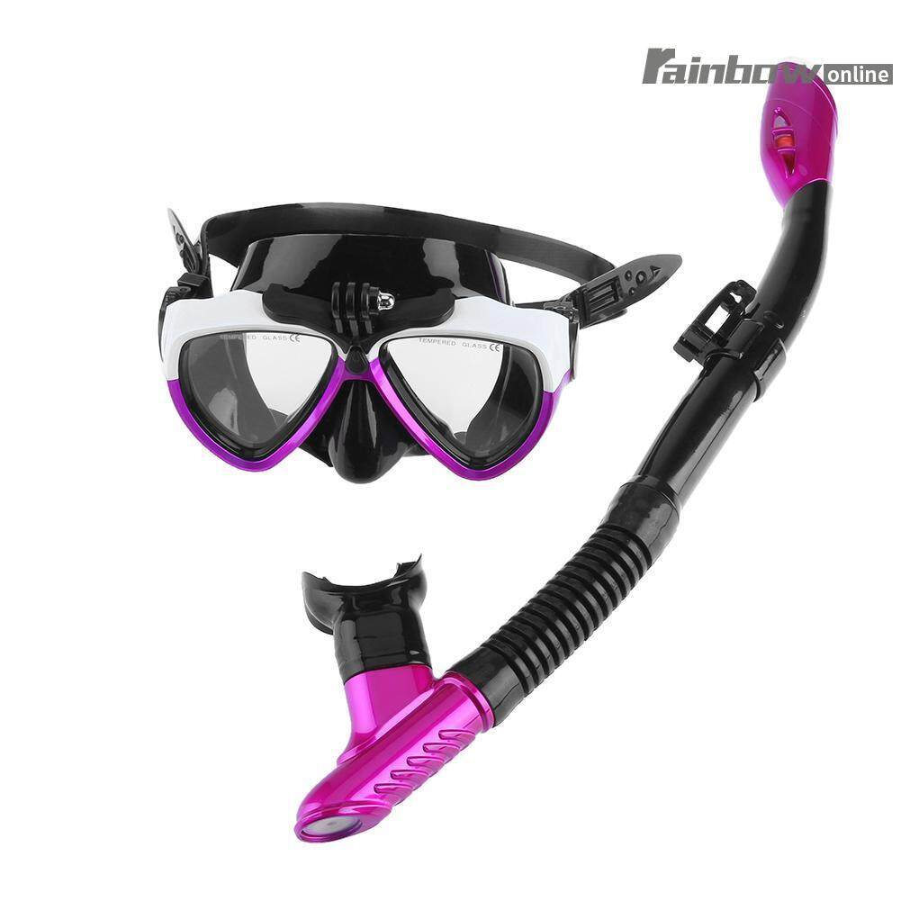 Anti-fog Underwater Scuba Silicone Snorkel+ Diving Snorkeling Mask Set - intl