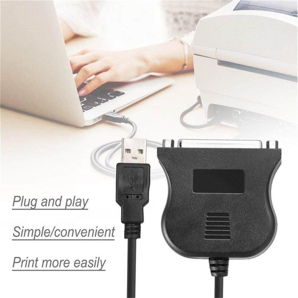 Qnstar USB Hitam untuk 25 Pin DB25 Printer Paralel Kawat Kabel Adaptor Converter