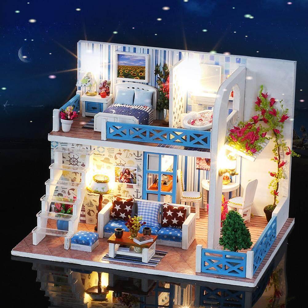 DIY Small Sea View House Wooden Hut Villa Assembly Model Birthday Gift Helen Coast - intl