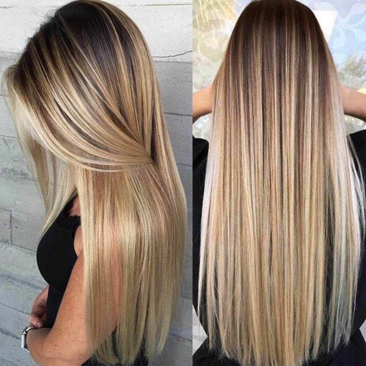 High Temperature Fiber Blonde Natural Long Straight Synthetic Women Hair Wig With Bangs Heat Resistant Wig