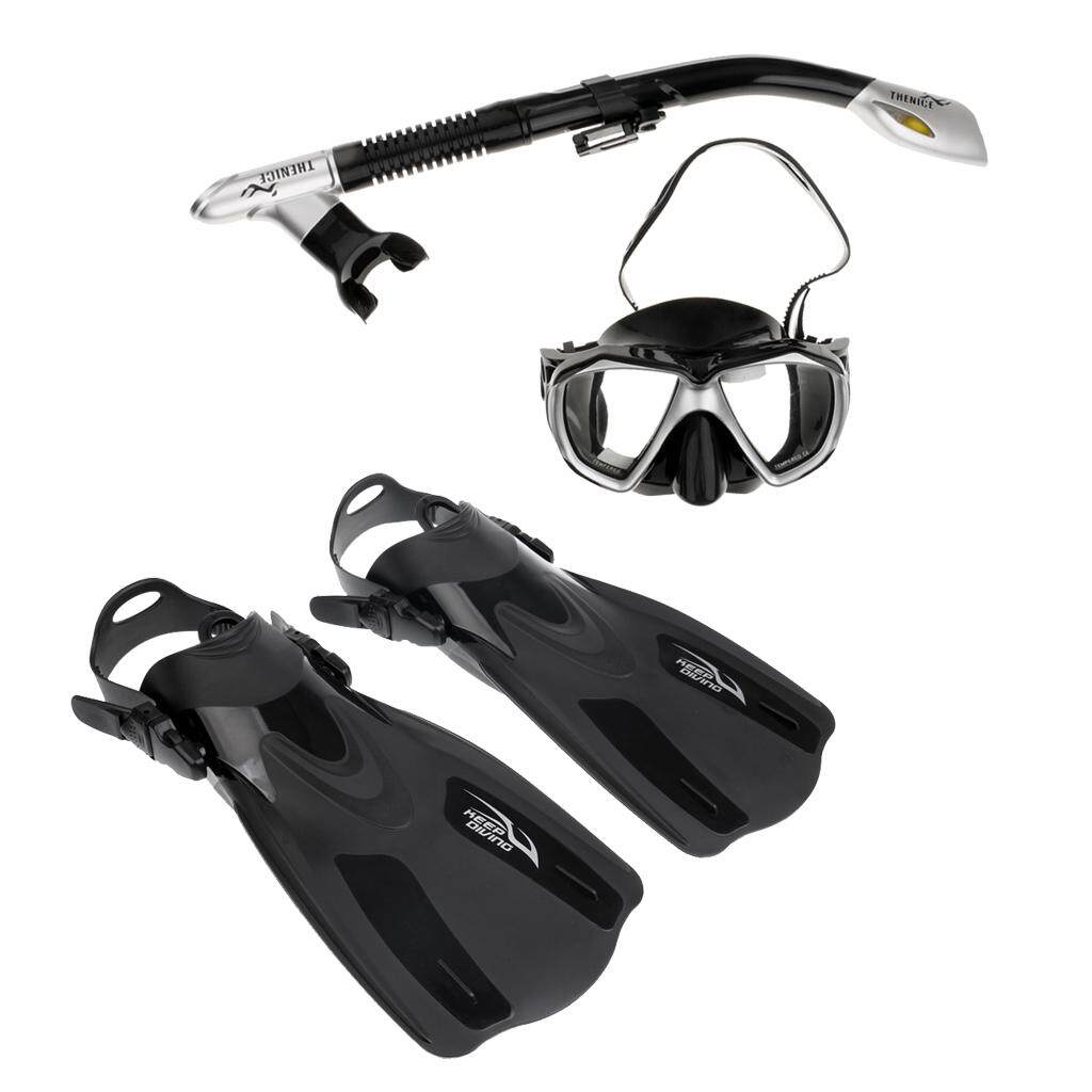 Miracle Shining Scuba Diving Swimming Snorkeling Fin Flippers with Mask Dry Snorkel Gear Set - intl