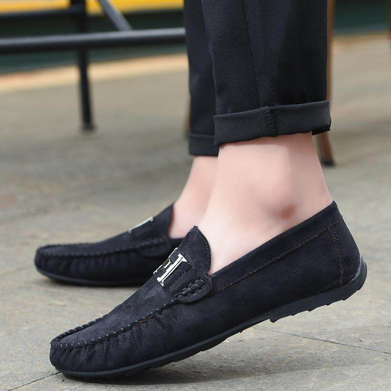 Men Slip-Ons & Loafers Fashion Flats Male Breathable Driving Shoes (Black) -