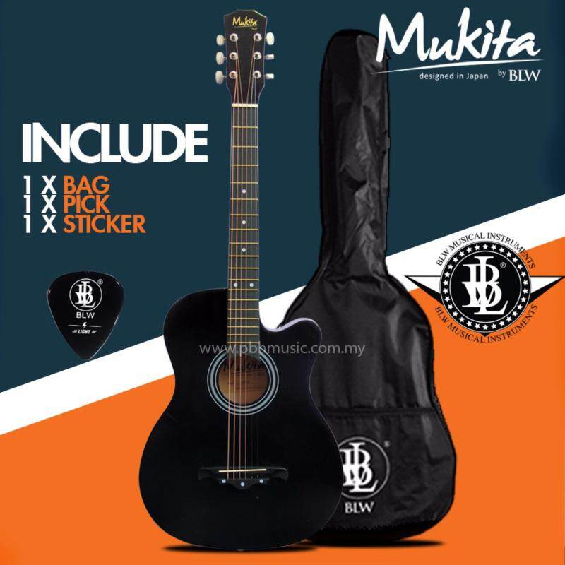 Mukita by BLW Standard Acoustic Folk Cutaway Basic Guitar Package 38 Inch for beginners with Bag, Pick and Merchandise Sticker (Black) Malaysia