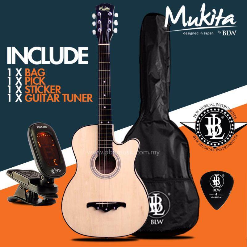 Mukita by BLW Standard Acoustic Folk Cutaway Basic Guitar Package 38 Inch for beginners with Bag, Pick, Digital Tuner and Merchandise Sticker (Natural) Malaysia