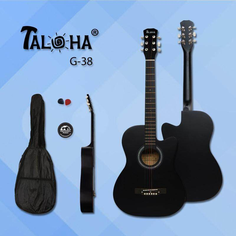 Taloha Acoustic Cutaway Matte Guitar 38-inch Essential Package with Bag, Sticker and 2 Picks (Black) Malaysia