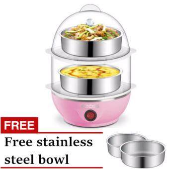 2 layer Egg Maker with Food Steamer (Pink)