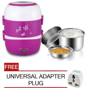 2.0Litre 3 layer Multi Functional Rice Cooker/Steamer (Purple) FREEUniversal Adapter