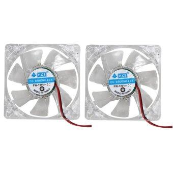 2pcs 80mm 80x25mm Fans 4 Blue 4pin for Computer PC Case Cooling Cooler