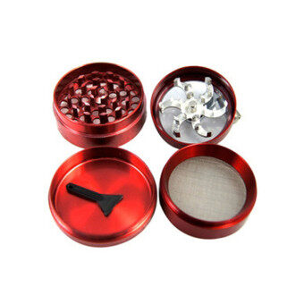 Hanyu 4 Layers Alloy Hand Crank Herbal Herb Tobacco Grinder SpiceCrusher 55mm Red