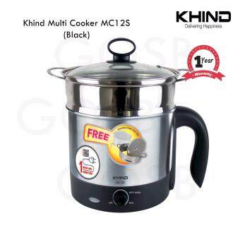 Khind Stainless Steel Multi Cooker & Steamer MC12S Boil Cook Noodle Steamboat (Black)