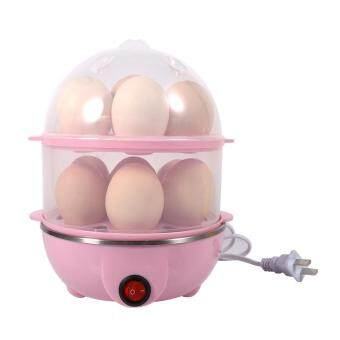 Multi-functional Double-Layer Eggs Cooker Steamer Home Kitchen Use(Pink)