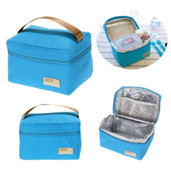 Portable Insulated Thermal Cooler Bento Lunch Box Tote Picnic(Blue)