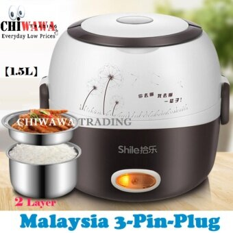 SIRIM Certified ?Malaysia 3-Pin-Plug? ORIGINAL Portable Stainless Steel Multi-Functional 2-Layer Electric Lunch Box Steamer Mini Rice Cooker 1.5L for 3 to 5 person (Black) + Free Gift Egg Steamer Rack