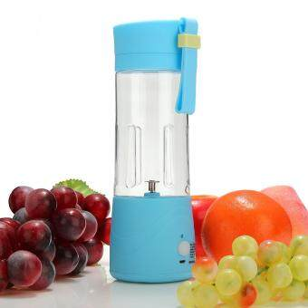 USB Mini Electric Fruit Juicer Handheld Smoothie Maker Blender Juice Cup 380ml Blue