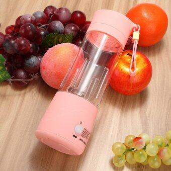 USB Mini Electric Fruit Juicer Handheld Smoothie Maker Blender Juice Cup 380ml Pink