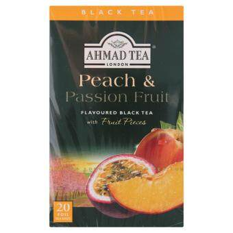 Ahmad Tea London Peach & Passion Fruit Flavoured Black Tea with Fruit Pieces Foil Tea Bags 20pcs 40g