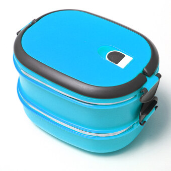 2 layers bento thermal insulated lunch box case stainless steel camping food. Black Bedroom Furniture Sets. Home Design Ideas