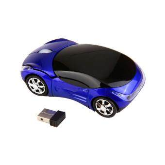 1000DPI Wireless Blue Car Optical Mouse And USB receiver For Laptop Computer