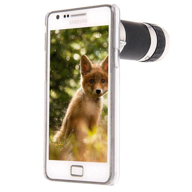 6X Zoom Lens Mobile Phone Telescope + Crystal Case, For Samsung Galaxy S II / i9100 - intl