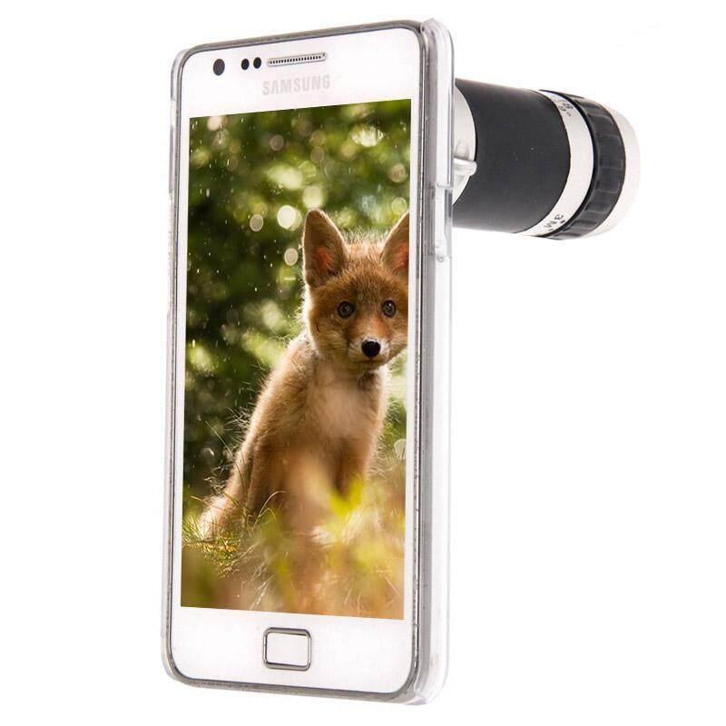 8X Zoom Lens Mobile Phone Telescope + Crystal Case, For Samsung Galaxy S II / i9100(Transparent) - intl
