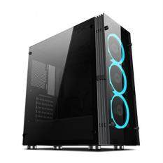 Aigo ATLANTIS Mid-Tower ComputerGaming Case Tempered SPCC side panel with 3 120mm LED ring fans ice blue Pre-installed Malaysia