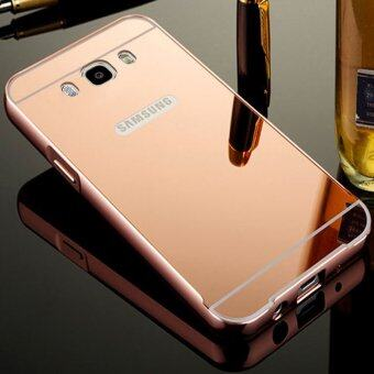 Aluminum Mirror Metal Bumper Case Cover for Samsung Galaxy J5 2016 Rose Gold