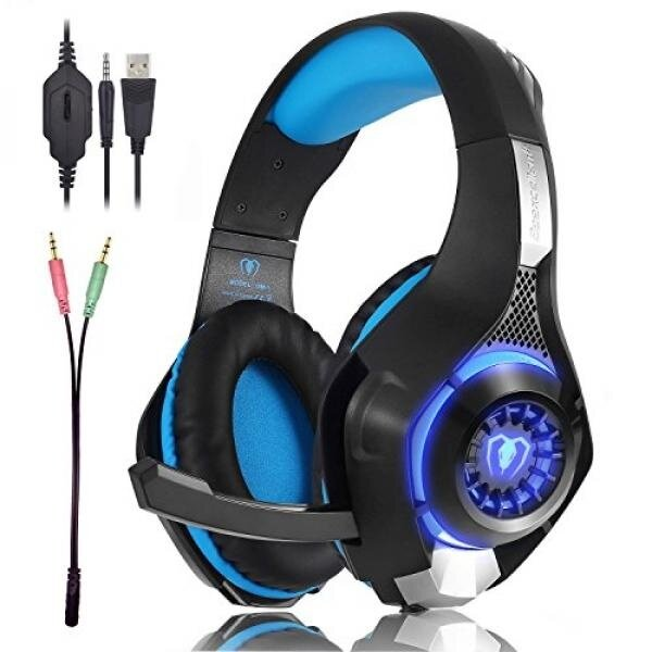 Beexcellent Gaming Headset GM-1 with Microphone for New Xbox 1 PS4 PC Cellphone Laptops Computer - Surround Sound, Noise Reduction Game Earphone-Easy Volume Control with LED Lighting 3.5MM Jack(Blue)