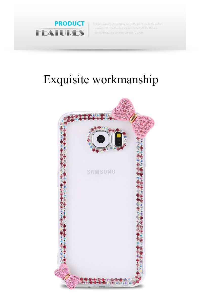 Bling Diamond Case For OPPO A79 Cute Bowknot Rhinestone Hard Cover ForOPPO A79 - intl