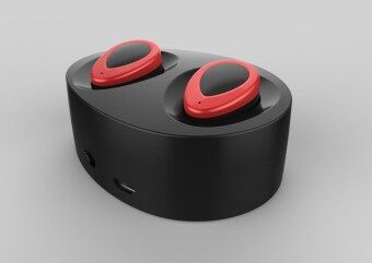 Bluetooth 4.1 True Wireless Stereo Earphones Headset Handsfree Earbud with MIC Charging Box for Smartphones(Black+Red)