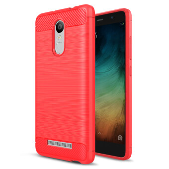 Carbon Fibre Brushed TPU Cover Case for Xiaomi Redmi Note 3 / Note3 Pro - Red