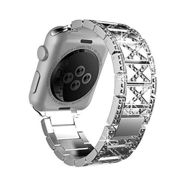 Crystal Rhinestone Diamond Watch Strap, Luxury Stainless Steel Quick Release Bracelet with Adjustable Metal Clasp for Apple Watch Series 3/Series 2 /Series 1 Nike+ Edition Men and Women (42mm Silver) - intl