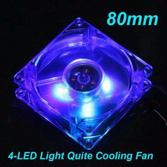 DIY 4-LED Light Neon Clear 80mm PC Computer Case Cooling Fan