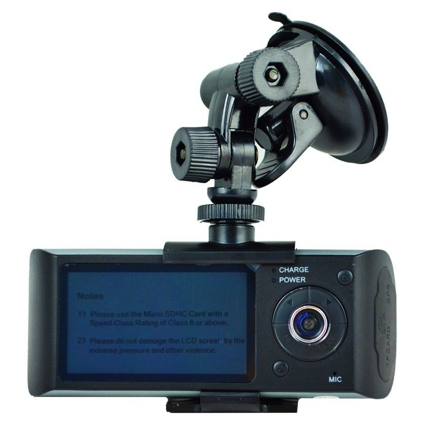 Dual Camera Car DVR R300 with GPS and 3D G-Sensor 2.7�x9DTFTLCDX3000Cam Video Camcorder Cycle Recording Digital Zoom - intl