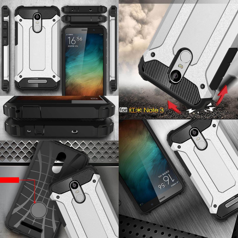 Lapis ganda kasus untuk Xiaomi Redmi Note 3 pc tugas TPU campuran baja syok menyerap aling