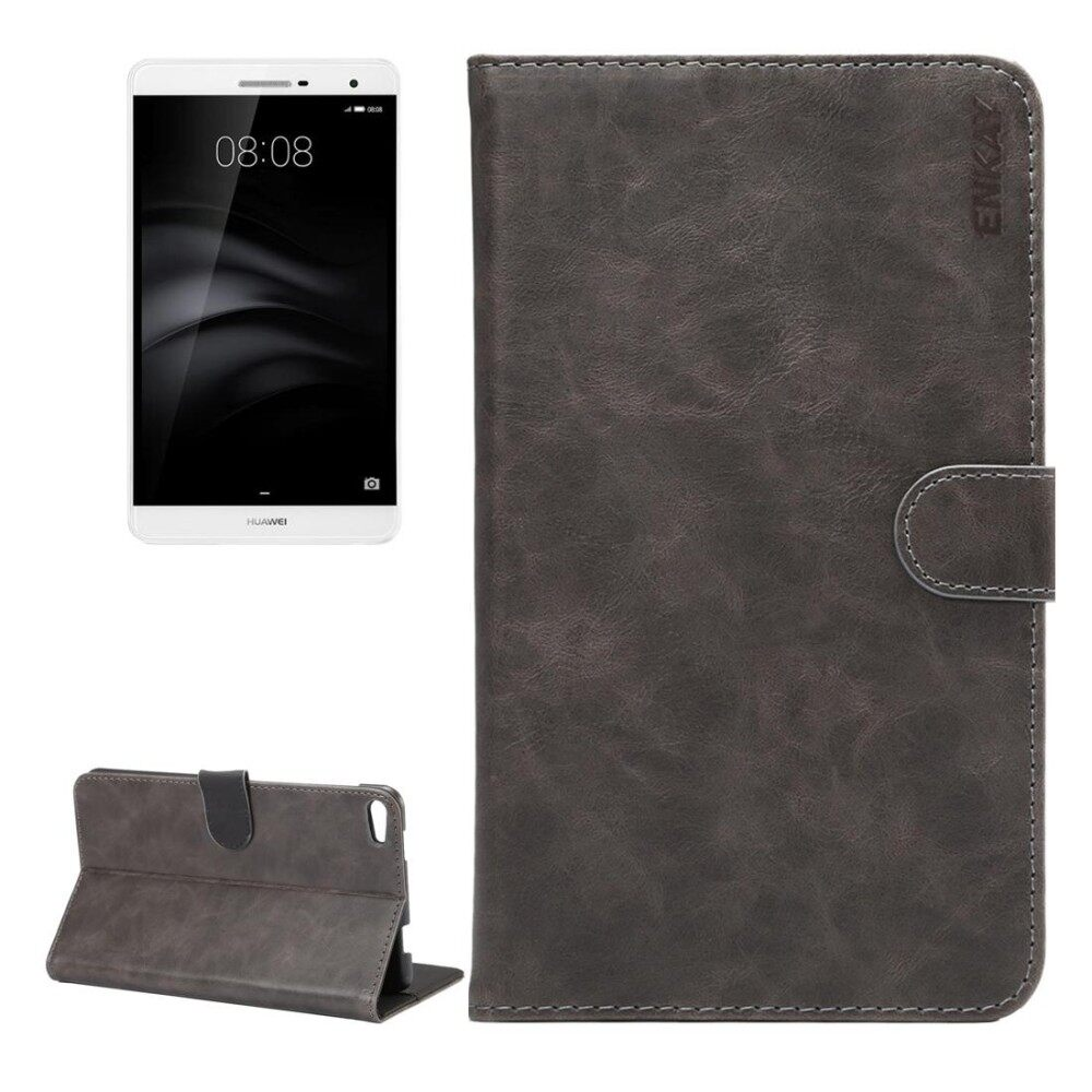 ENKAY For Huawei MediaPad M2 7.0 Crazy Horse Texture Horizontal Flip Leather Protective Case Shell with Sleep / Wake-up Function and Holder and Card Slots and Wallet(Grey) - intl