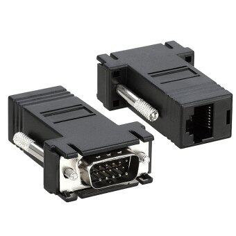 FIXON9657 DB15 VGA to RJ45 LAN Cat5E Cat6 Network Cable Video Extender Adapter