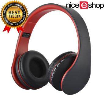 Foldable Stereo Wireless Bluetooth Headphone Foldable EDR Earphone Headset (Red+Black)
