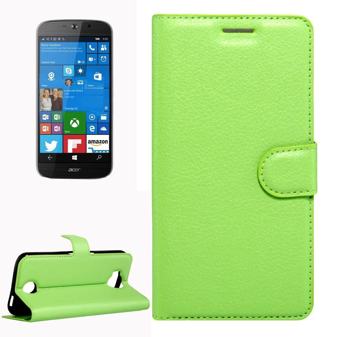 For Acer Liquid Jade Primo 5.5 inch & Liquid Jade 2 Litchi Texture Horizontal Flip Leather Case with Magnetic Buckle & Holder & Card Slots & Wallet(Green) - intl