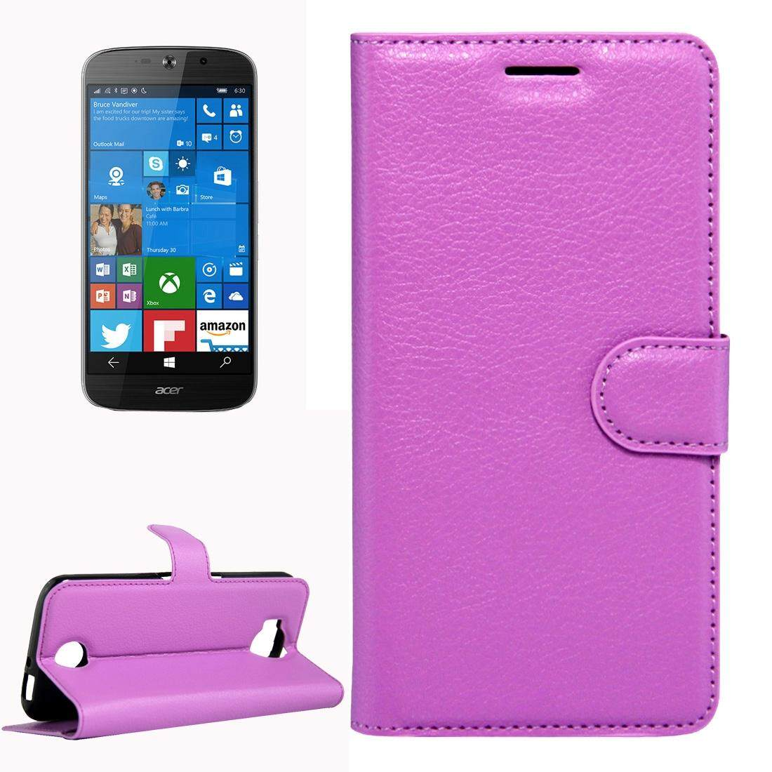 For Acer Liquid Jade Primo 5.5 inch & Liquid Jade 2 Litchi Texture Horizontal Flip Leather Case with Magnetic Buckle & Holder & Card Slots & Wallet(Purple) - intl