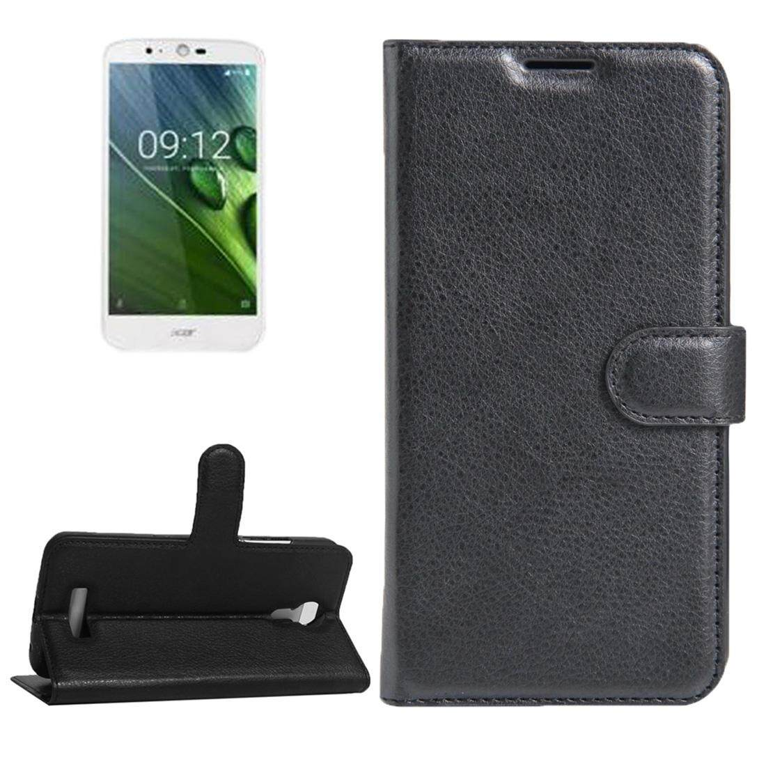 For Acer Liquid Zest Plus / Z628 Litchi Texture Horizontal Flip Leather Case with Magnetic Buckle & Holder & Card Slots & Wallet(Black) - intl